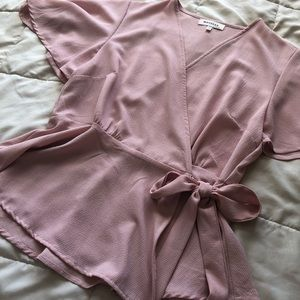 Rose Pink Wrap Style Top